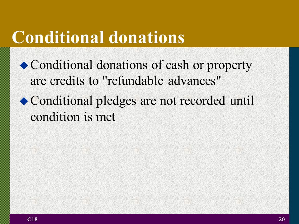 C1820 Conditional donations u Conditional donations of cash or property are credits to refundable advances u Conditional pledges are not recorded until condition is met