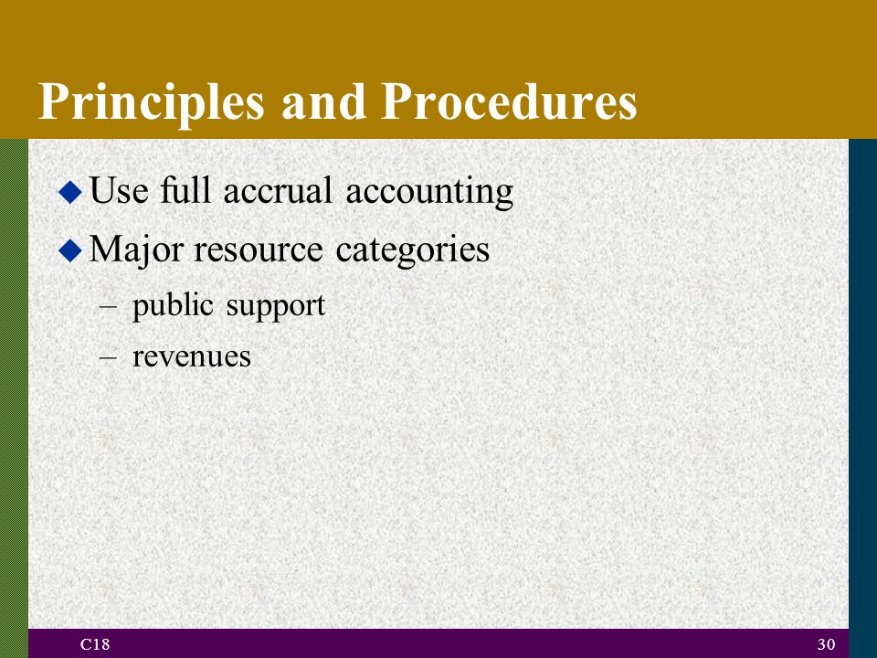 C1830 Principles and Procedures u Use full accrual accounting u Major resource categories –public support –revenues