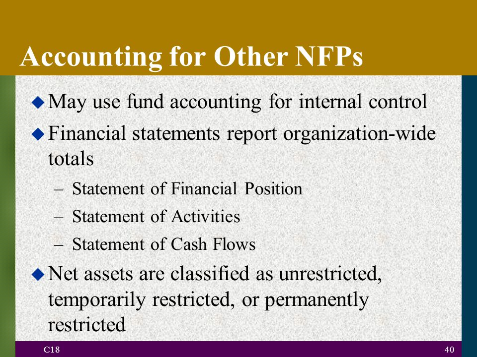 C1840 Accounting for Other NFPs u May use fund accounting for internal control u Financial statements report organization-wide totals –Statement of Financial Position –Statement of Activities –Statement of Cash Flows u Net assets are classified as unrestricted, temporarily restricted, or permanently restricted