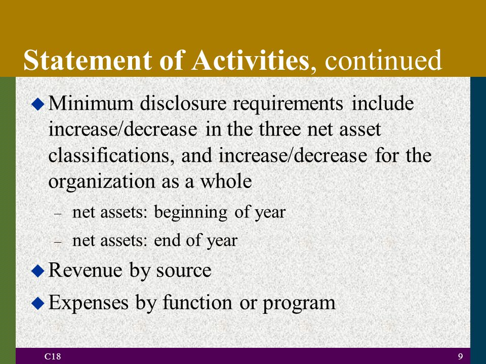 C189 u Minimum disclosure requirements include increase/decrease in the three net asset classifications, and increase/decrease for the organization as a whole – net assets: beginning of year – net assets: end of year u Revenue by source u Expenses by function or program Statement of Activities, continued