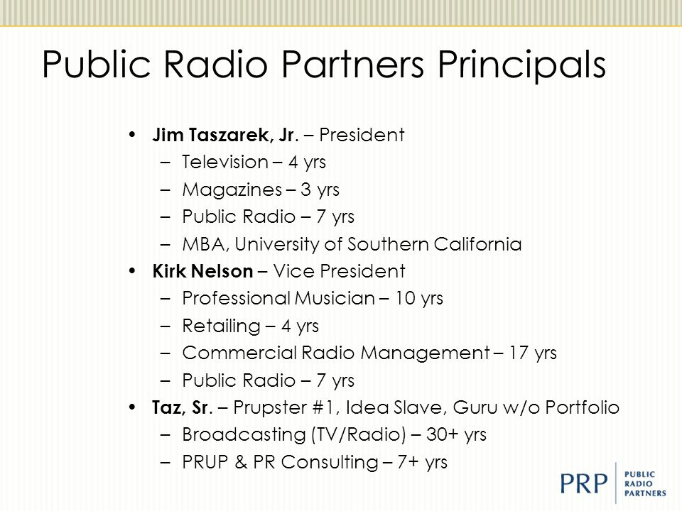 Public Radio Partners Principals Jim Taszarek, Jr.