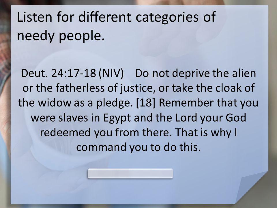 Listen for different categories of needy people. Deut.