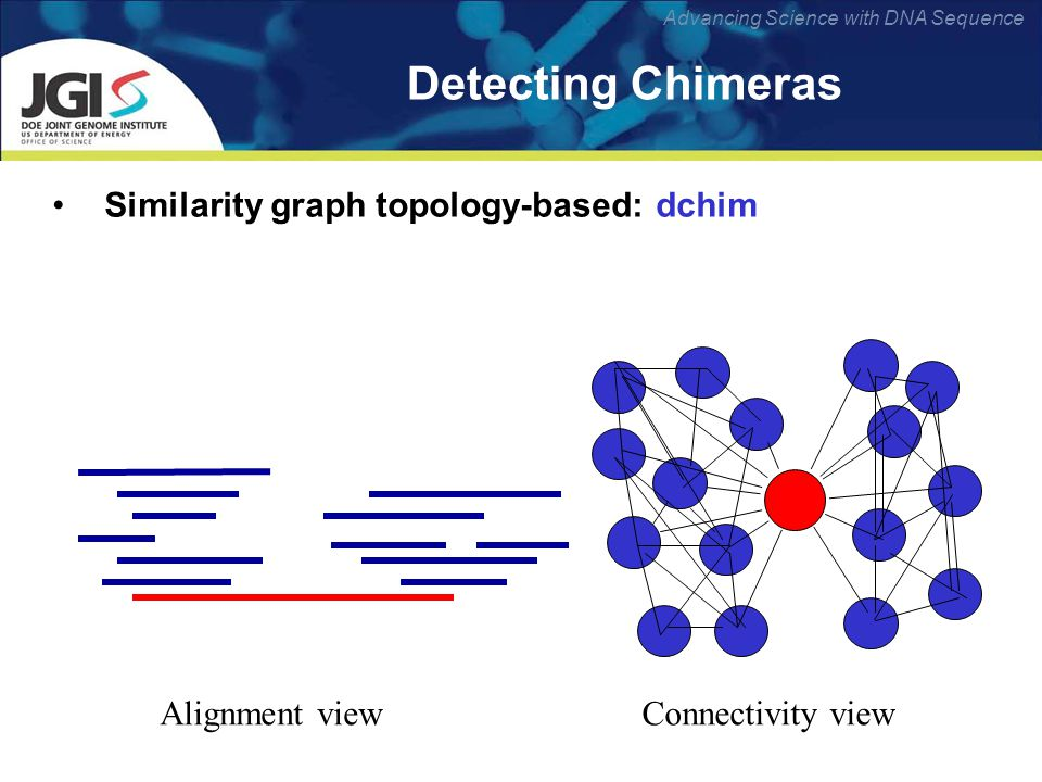 Advancing Science with DNA Sequence Detecting Chimeras Similarity graph topology-based: dchim Alignment viewConnectivity view