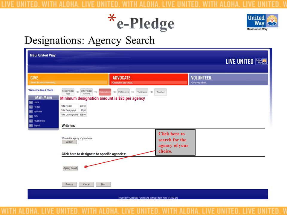 Click here to search for the agency of your choice. Designations: Agency Search