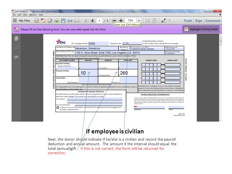 If employee is civilian Next, the donor should indicate if he/she is a civilian and record the payroll deduction and annual amount.
