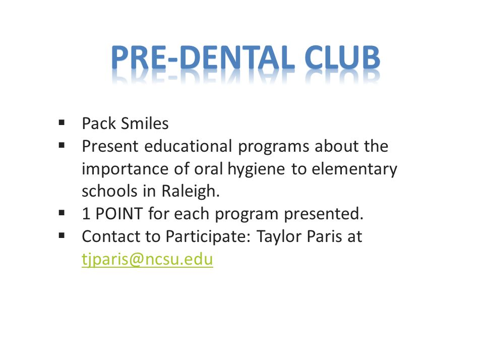  Pack Smiles  Present educational programs about the importance of oral hygiene to elementary schools in Raleigh.