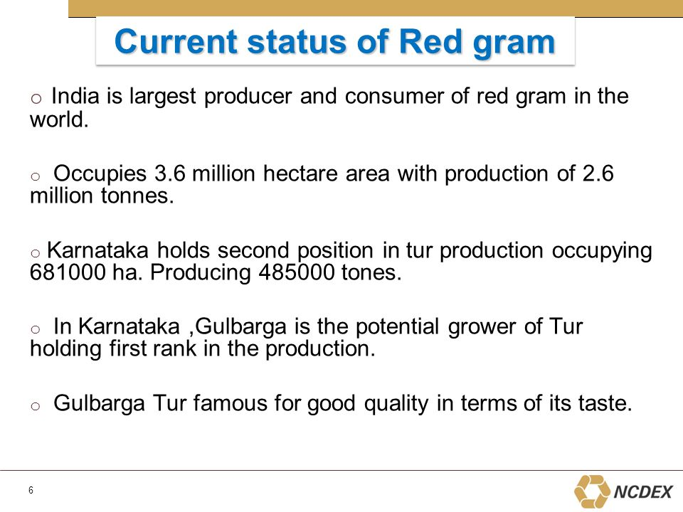 Current status of Red gram o India is largest producer and consumer of red gram in the world.