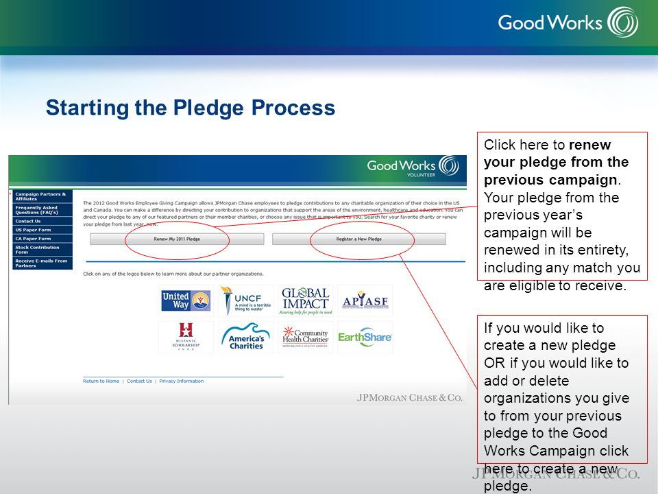 Starting the Pledge Process Click here to renew your pledge from the previous campaign.