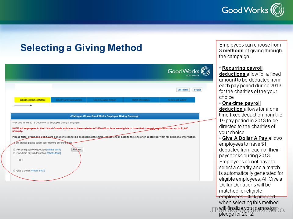 Selecting a Giving Method Employees can choose from 3 methods of giving through the campaign: Recurring payroll deductions allow for a fixed amount to be deducted from each pay period during 2013 for the charities of the your choice One-time payroll deduction allows for a one time fixed deduction from the 1 st pay period in 2013 to be directed to the charities of your choice Give A Dollar A Pay allows employees to have $1 deducted from each of their paychecks during 2013.