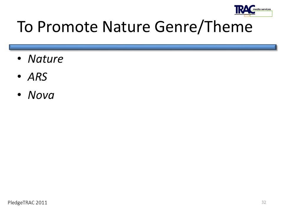 PledgeTRAC 2011 To Promote Nature Genre/Theme Nature ARS Nova 32