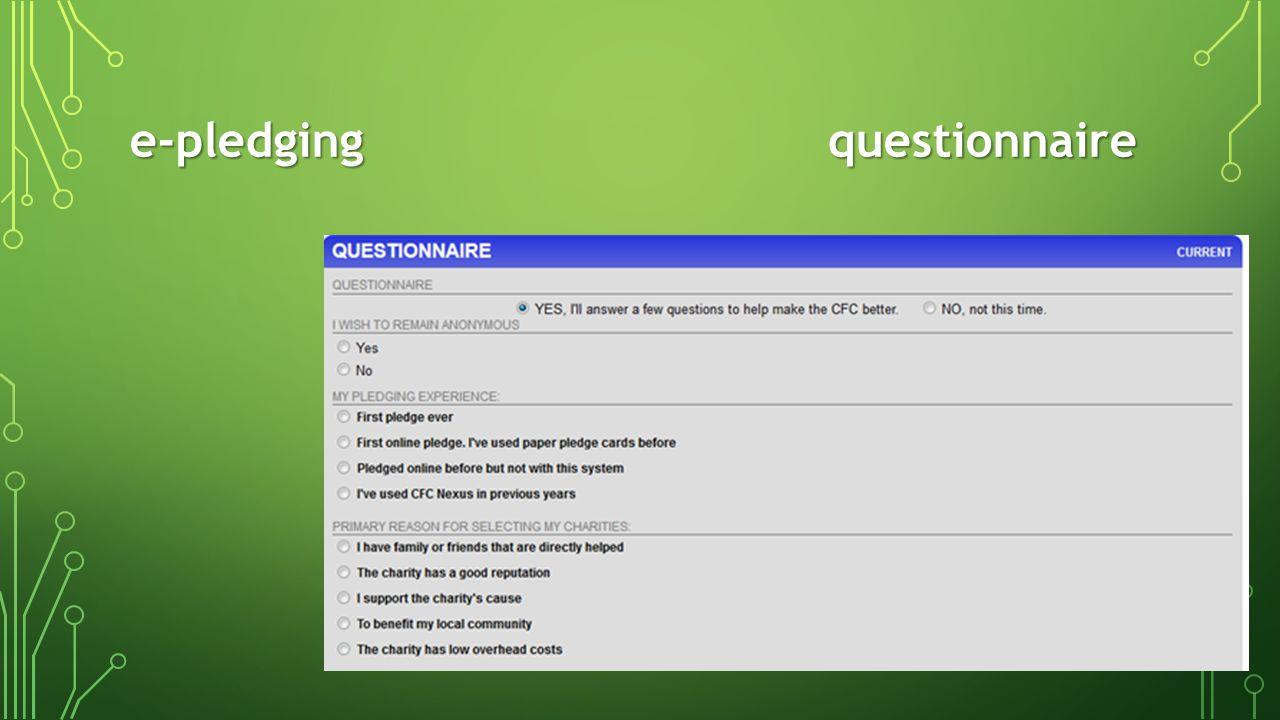 e-pledging questionnaire