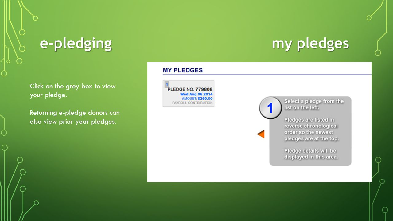 e-pledging my pledges Click on the grey box to view your pledge.