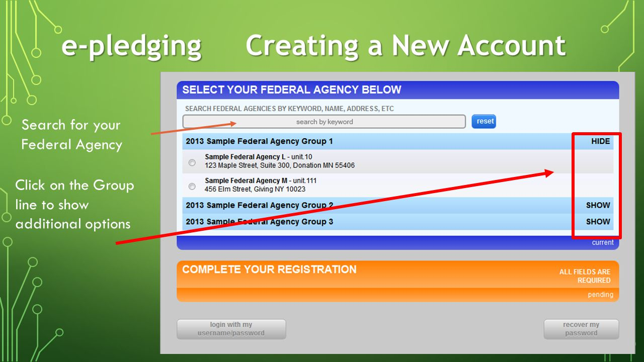 e-pledgingCreating a New Account Select your Federal Agency