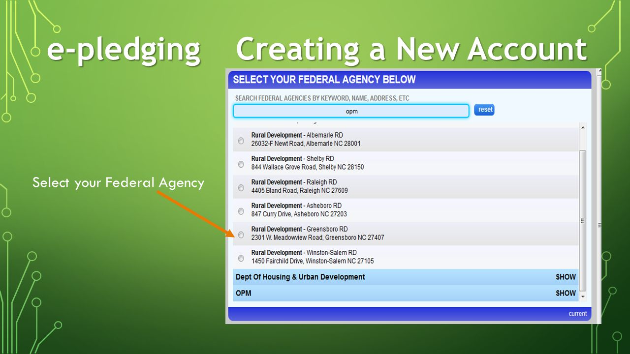 e-pledging Creating a New Account Enter personal information Select a login & password Write this down for future reference