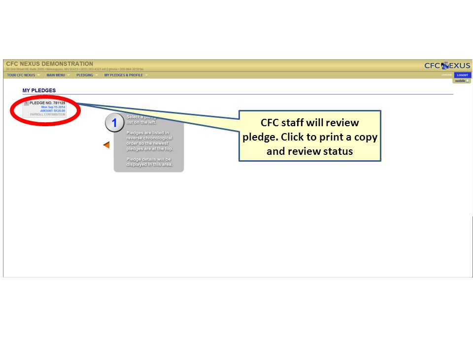 CFC staff will review pledge. Click to print a copy and review status