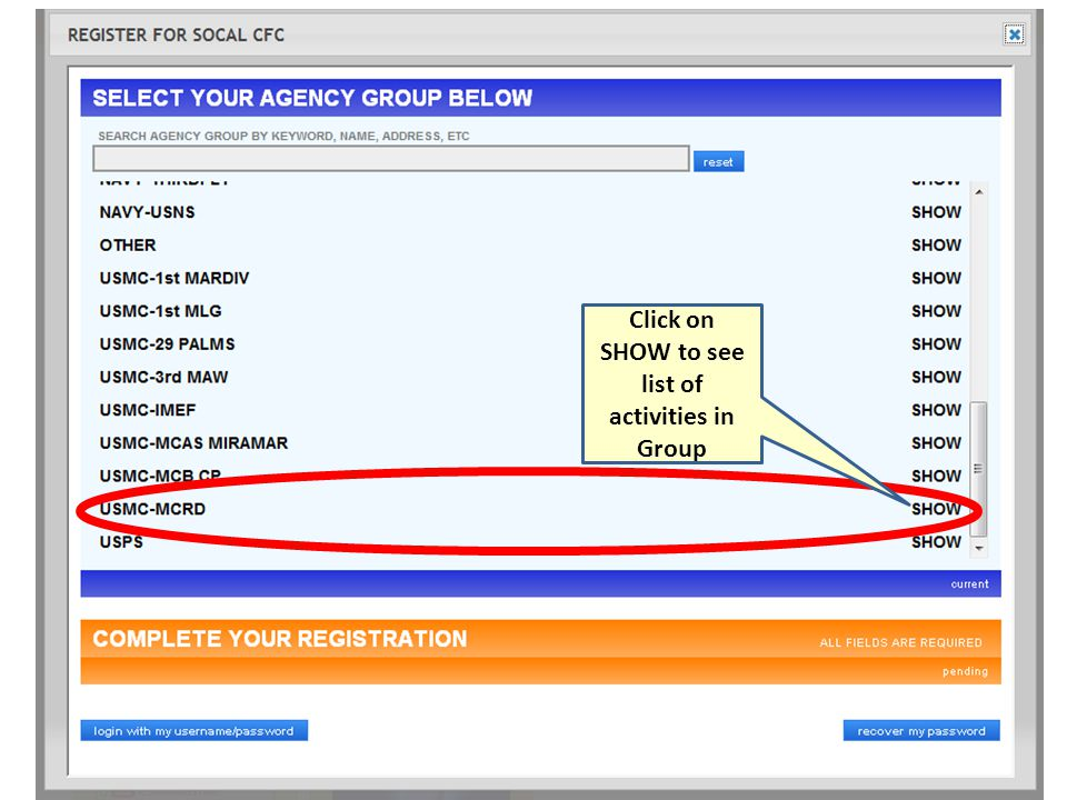 Click on SHOW to see list of activities in Group