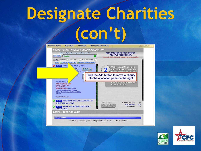 Designate Charities (con't)