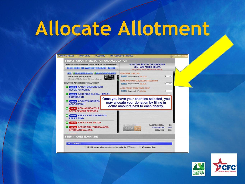 Allocate Allotment