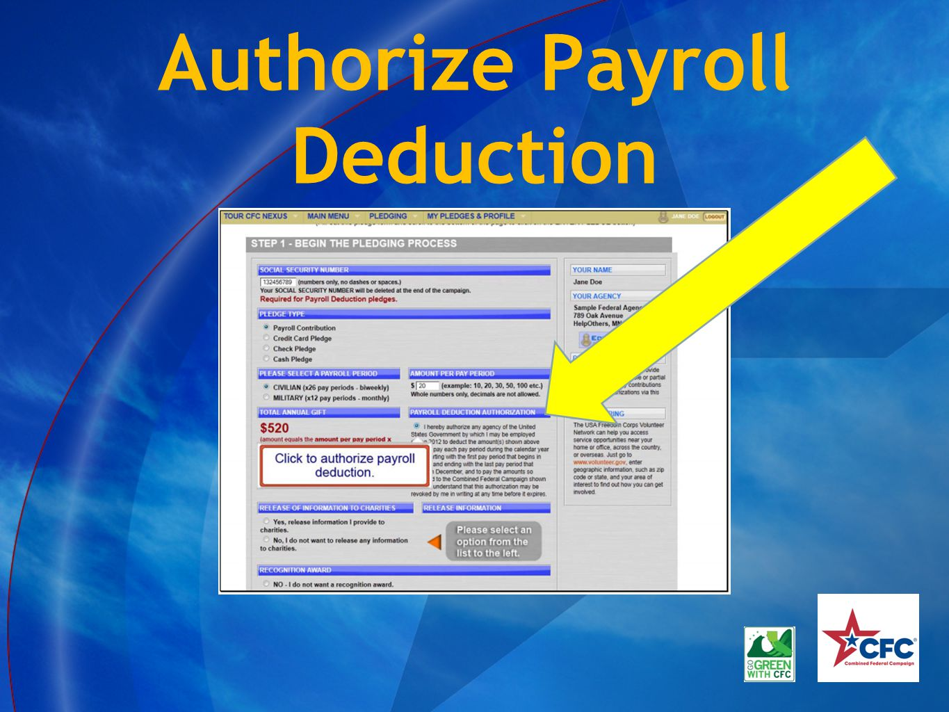 Authorize Payroll Deduction