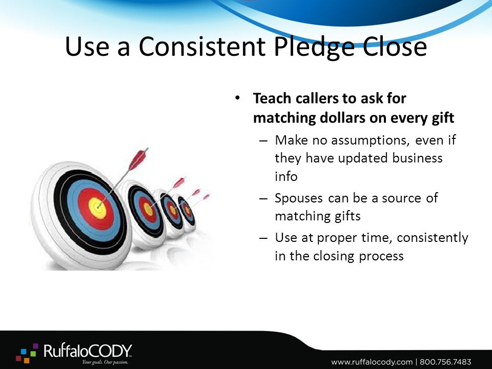 Use a Consistent Pledge Close Teach callers to ask for matching dollars on every gift – Make no assumptions, even if they have updated business info – Spouses can be a source of matching gifts – Use at proper time, consistently in the closing process