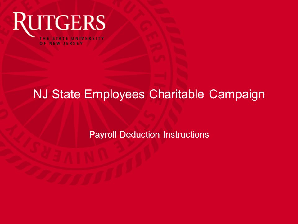 NJ State Employees Charitable Campaign Payroll Deduction Instructions