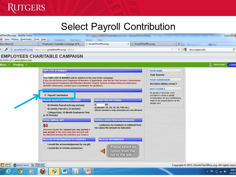 Select Payroll Contribution