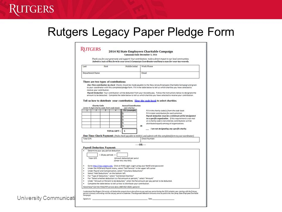 University Communications and Marketing Rutgers Legacy Paper Pledge Form