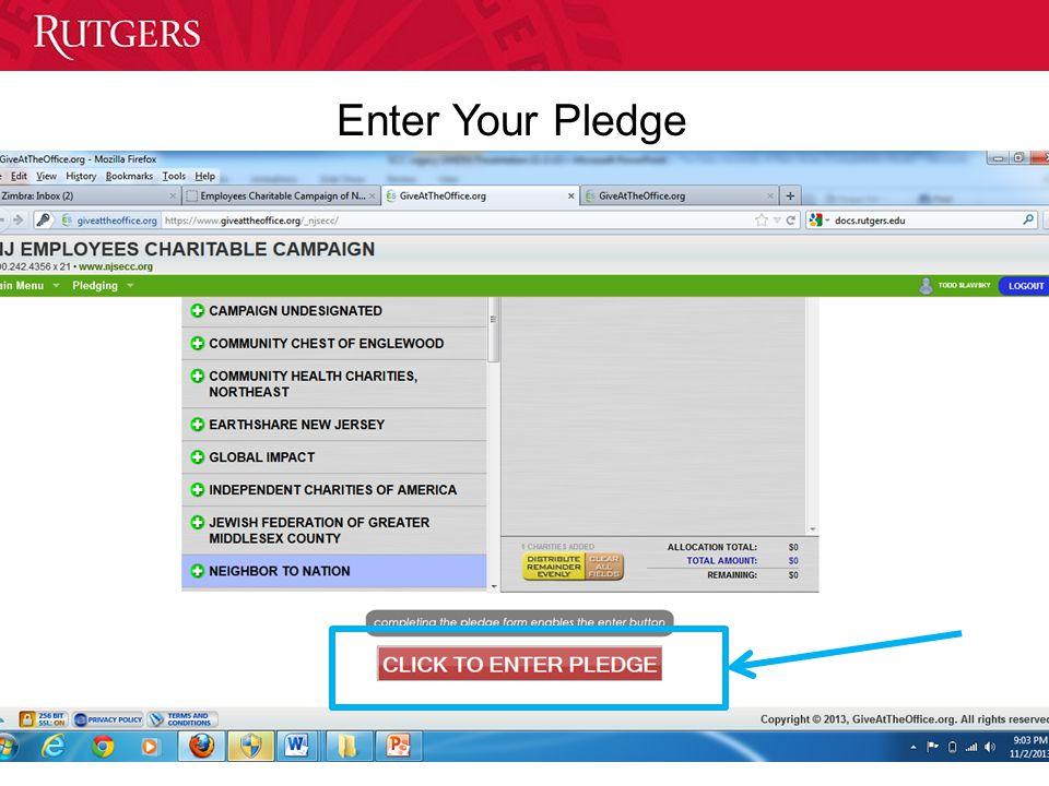 University Communications and Marketing Enter Your Pledge
