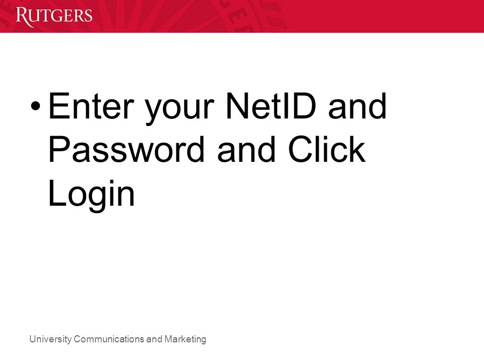 Enter your NetID and Password and Click Login