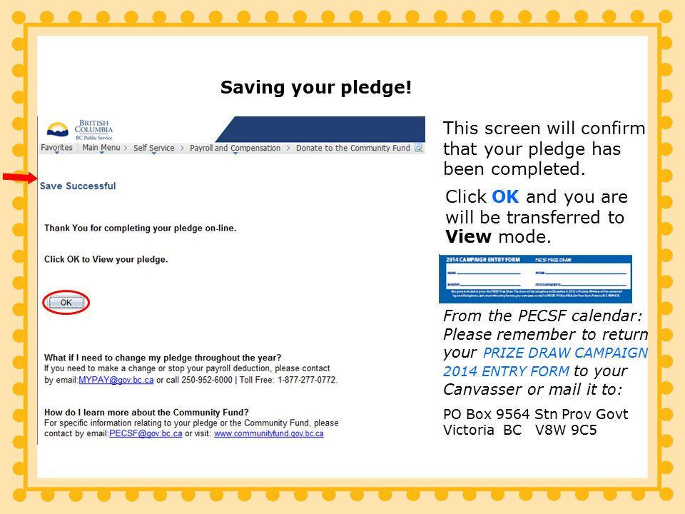 This screen will confirm that your pledge has been completed.