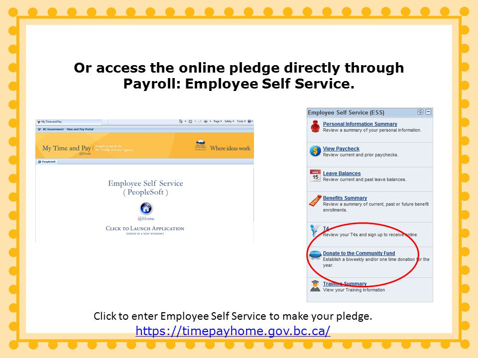Or access the online pledge directly through Payroll: Employee Self Service.