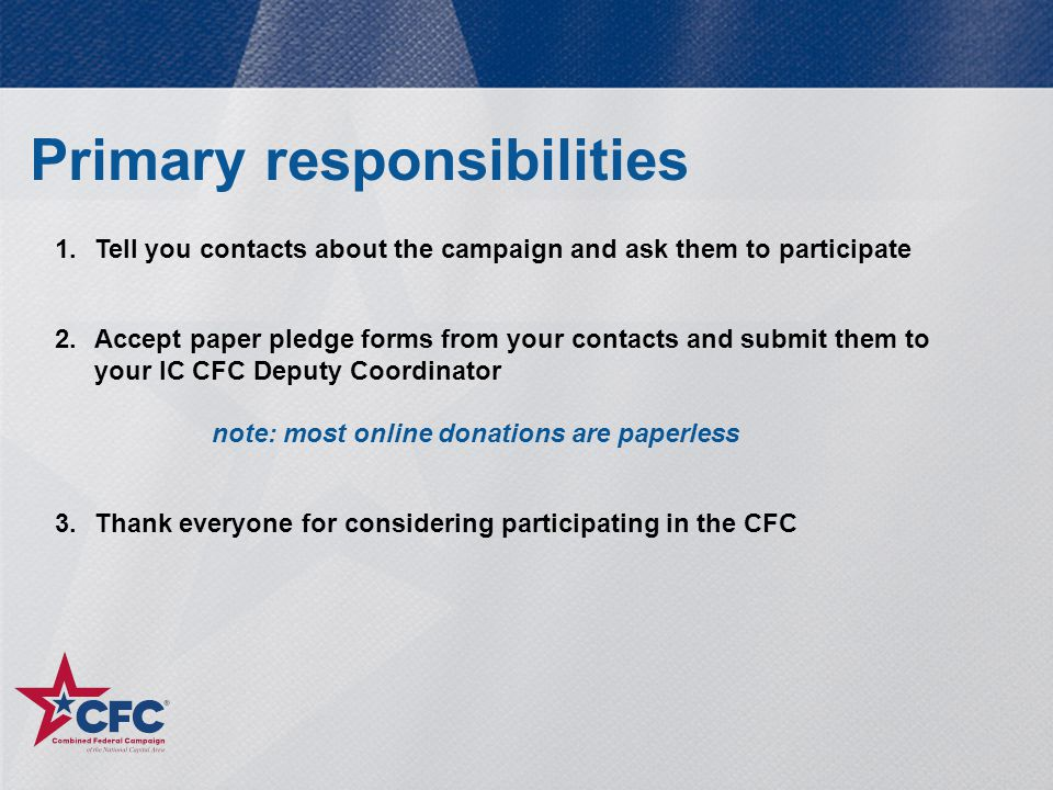 Help and support Contact NIH CFC  Send an email to our help desk: nihcfc2014@mail.nih.govnihcfc2014@mail.nih.gov  Call the NIH CFC Office at 301-594-1782 -Debra Gale 301-435-1208 or email debra.gale@nih.govdebra.gale@nih.gov -Christine Brake 703-407-1909 or email brakec@mail.nih.govbrakec@mail.nih.gov -Monica Hanson 301-792-5673 or email monica.hanson@nih.govmonica.hanson@nih.gov Contact CFCNCA  Visit www.cfcnca.org  Email support@cfcnca.org  Call the CFCNCA Help Desk, (202) 465-7230