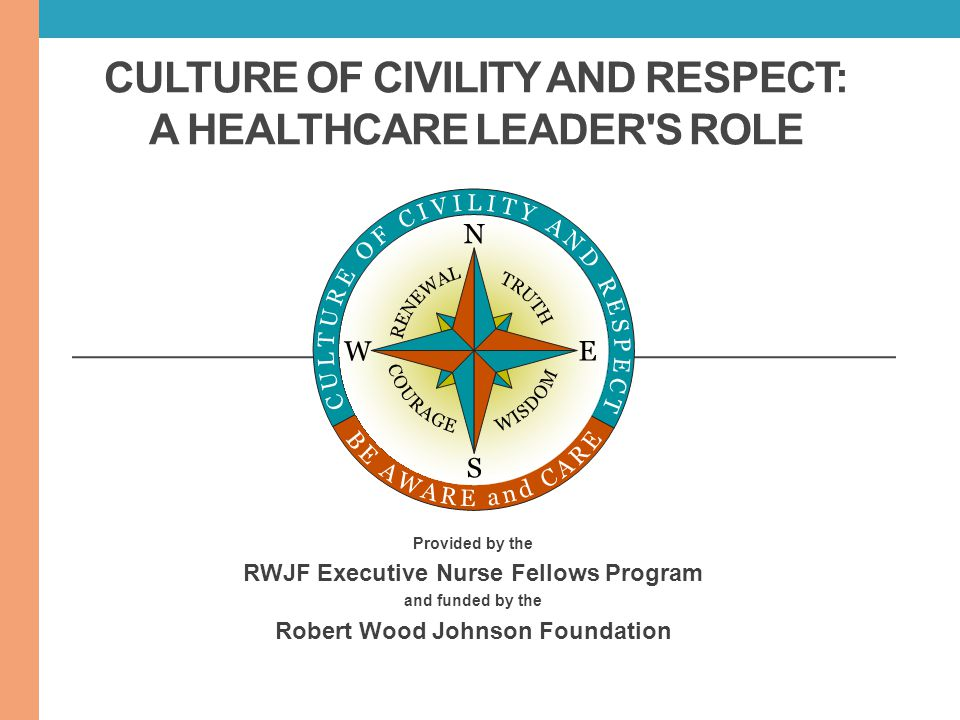 CULTURE OF CIVILITY AND RESPECT: A HEALTHCARE LEADER'S ROLE Provided by the RWJF Executive Nurse Fellows Program and funded by the Robert Wood Johnson
