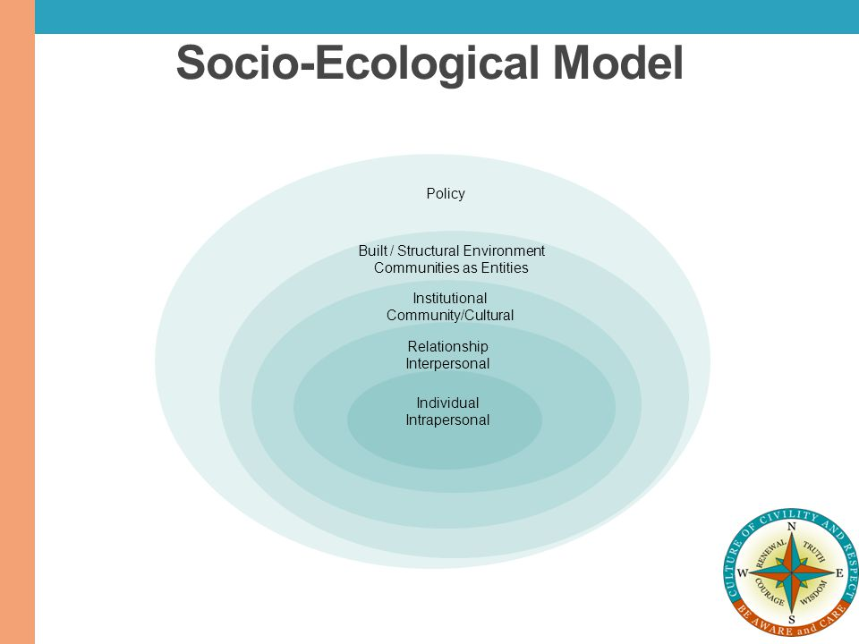 Socio-Ecological Model Individual Intrapersonal Relationship Interpersonal Institutional Community/Cultural Built / Structural Environment Communities