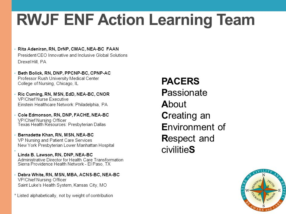 RWJF ENF Action Learning Team Rita Adeniran, RN, DrNP, CMAC, NEA-BC FAAN President/CEO Innovative and Inclusive Global Solutions Drexel Hill, PA Beth