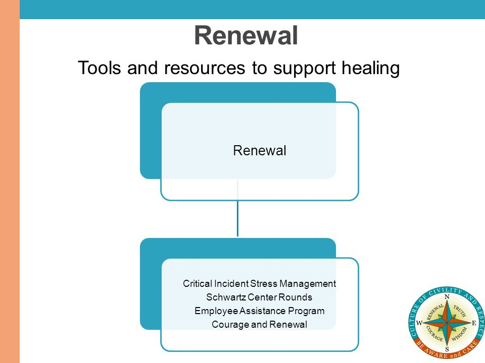 Renewal Critical Incident Stress Management Schwartz Center Rounds Employee Assistance Program Courage and Renewal Tools and resources to support heal