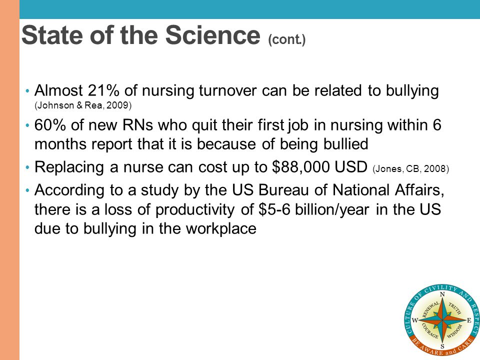 State of the Science (cont.) Almost 21% of nursing turnover can be related to bullying (Johnson & Rea, 2009) 60% of new RNs who quit their first job i