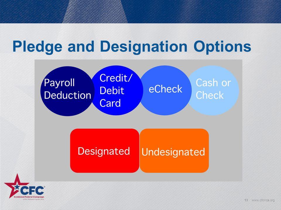 Pledge and Designation Options 13www.cfcnca.org