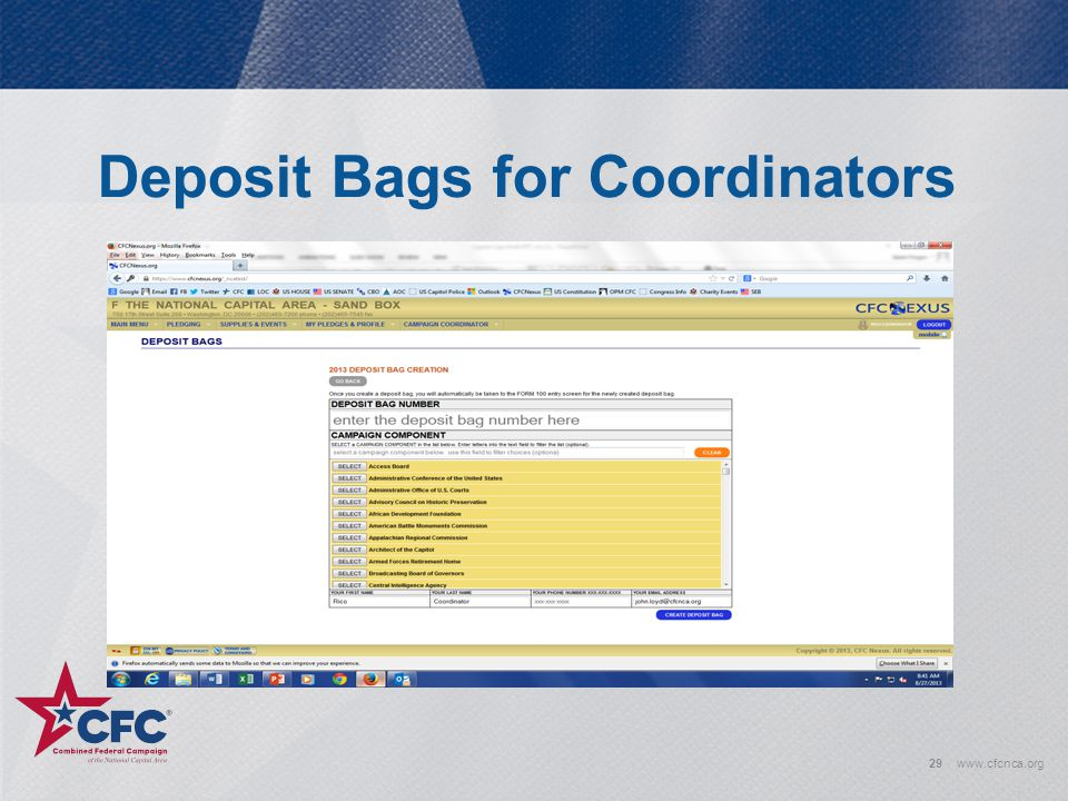 Deposit Bags for Coordinators 29www.cfcnca.org