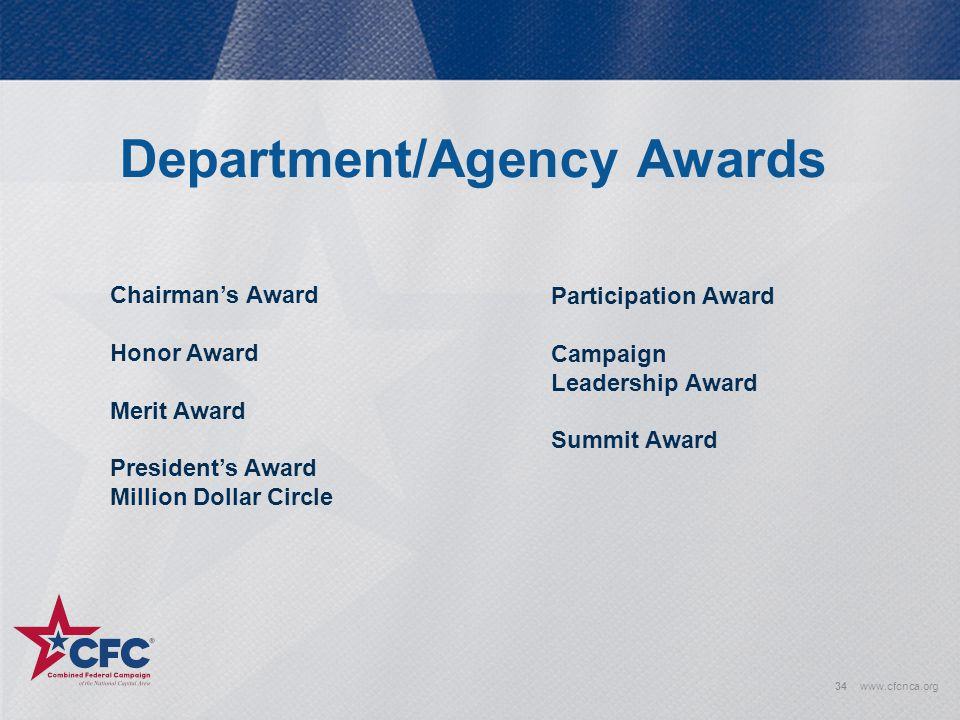 Department/Agency Awards 34www.cfcnca.org Chairman's Award Honor Award Merit Award President's Award Million Dollar Circle Participation Award Campaig