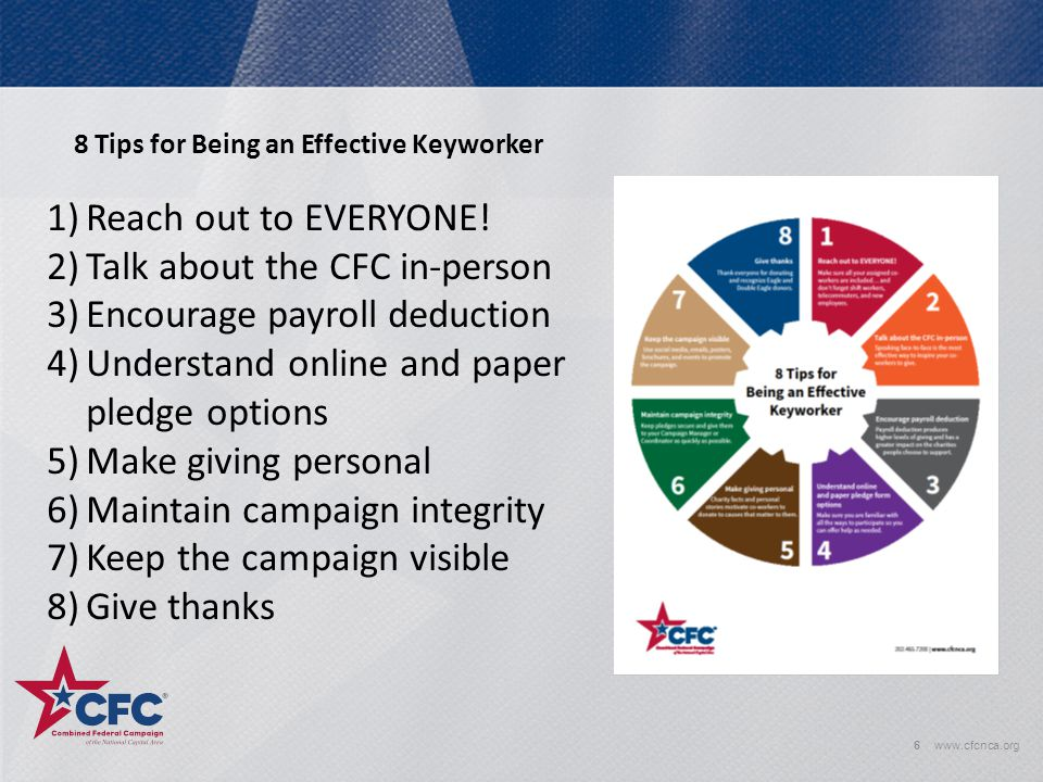 6www.cfcnca.org 8 Tips for Being an Effective Keyworker 1)Reach out to EVERYONE! 2)Talk about the CFC in-person 3)Encourage payroll deduction 4)Unders