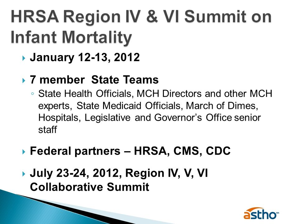  January 12-13, 2012  7 member State Teams ◦ State Health Officials, MCH Directors and other MCH experts, State Medicaid Officials, March of Dimes, Hospitals, Legislative and Governor's Office senior staff  Federal partners – HRSA, CMS, CDC  July 23-24, 2012, Region IV, V, VI Collaborative Summit
