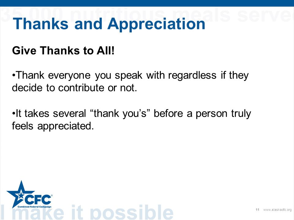 Thanks and Appreciation 11www.alaskacfc.org Give Thanks to All.