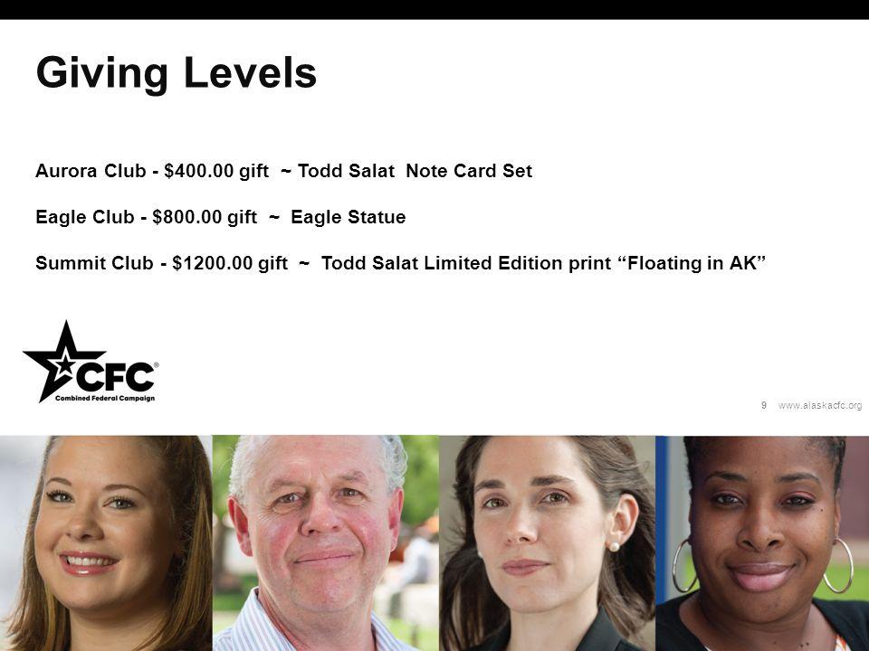 Giving Levels Aurora Club - $400.00 gift ~ Todd Salat Note Card Set Eagle Club - $800.00 gift ~ Eagle Statue Summit Club - $1200.00 gift ~ Todd Salat