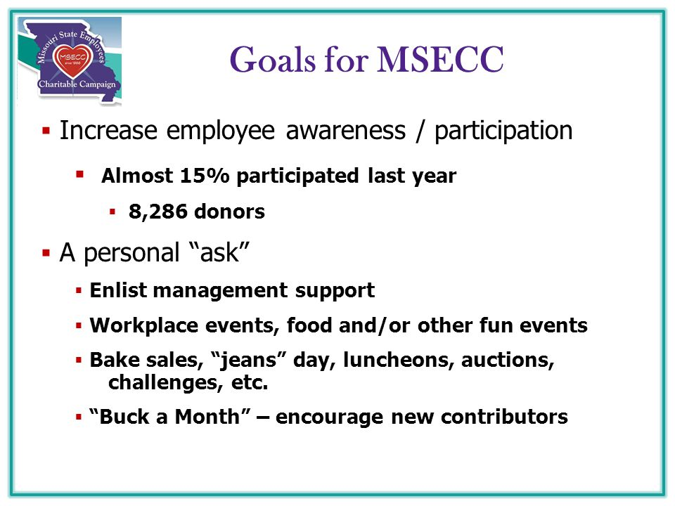"Goals for MSECC  Increase employee awareness / participation  Almost 15% participated last year  8,286 donors  A personal ""ask""  Enlist managemen"