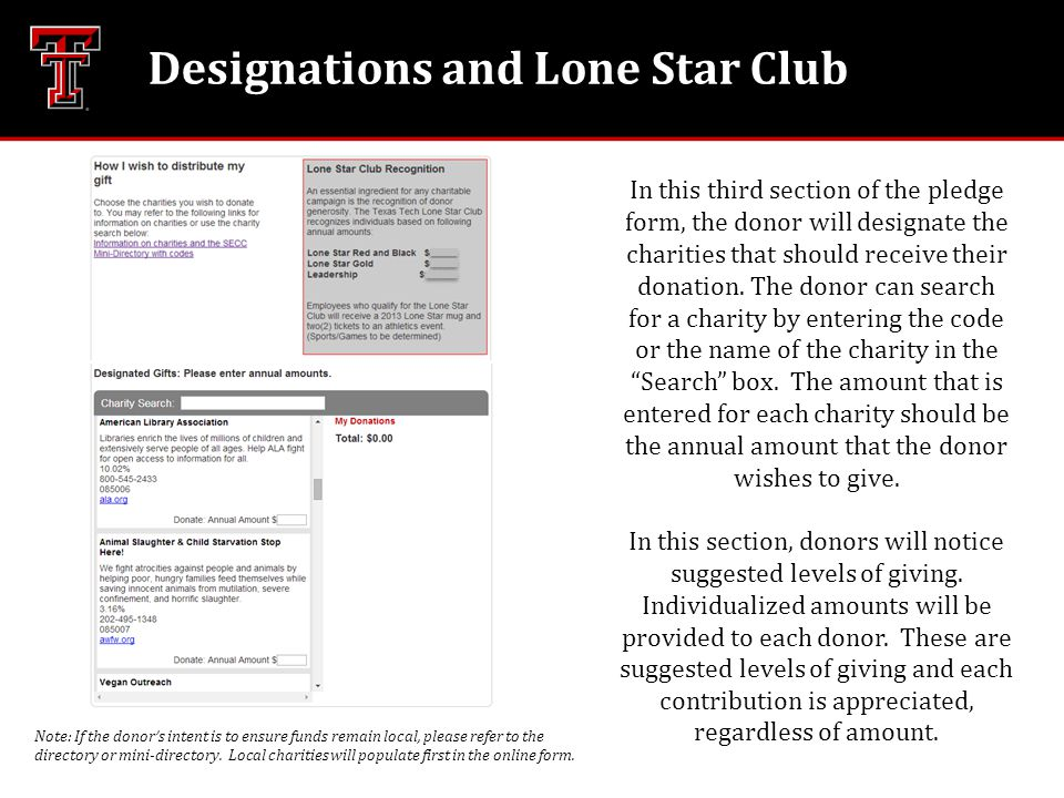 Designations and Lone Star Club In this third section of the pledge form, the donor will designate the charities that should receive their donation. T