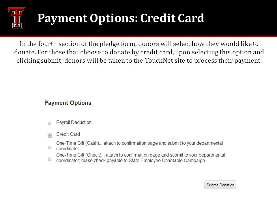 Payment Options: Credit Card In the fourth section of the pledge form, donors will select how they would like to donate. For those that choose to dona