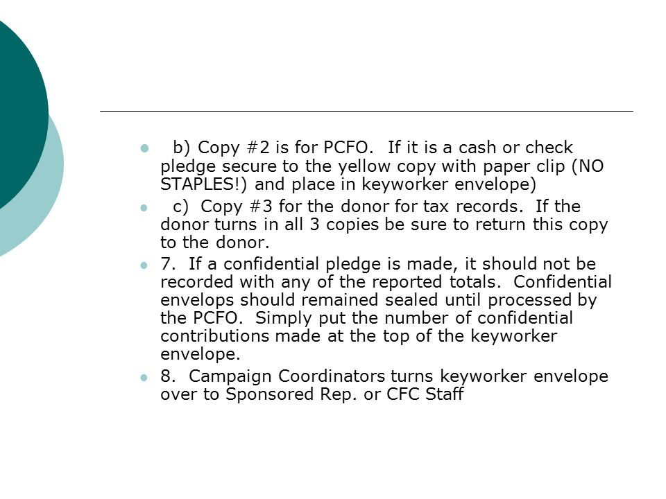 b) Copy #2 is for PCFO.