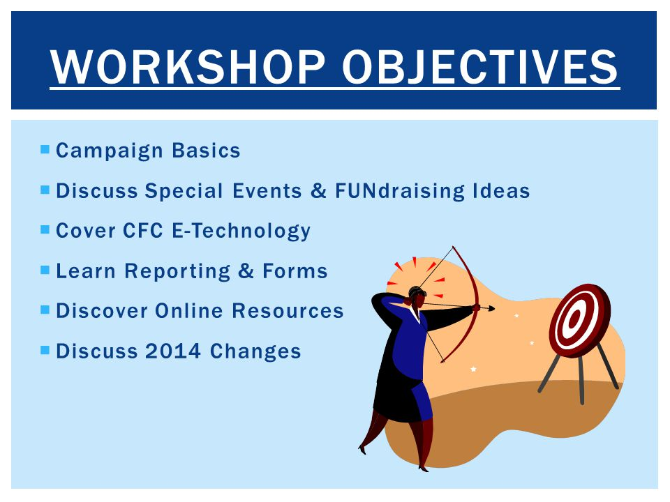  Campaign Basics  Discuss Special Events & FUNdraising Ideas  Cover CFC E-Technology  Learn Reporting & Forms  Discover Online Resources  Discus