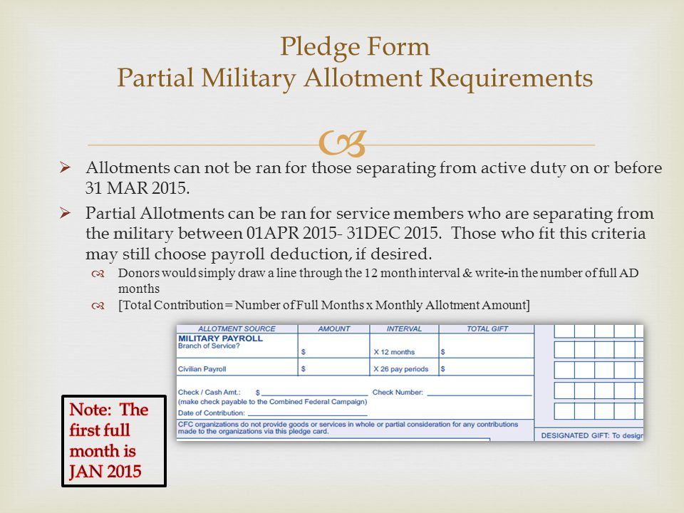   Allotments can not be ran for those separating from active duty on or before 31 MAR 2015.